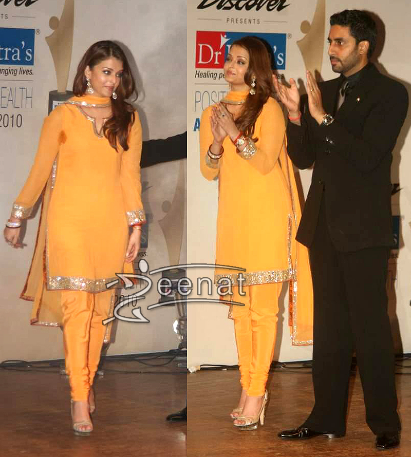 Aishwarya Rai Silk Yellow Churidar Kameez