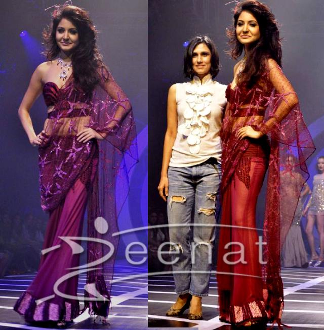Anushka Sharma In Rina Dhaka Saree Style