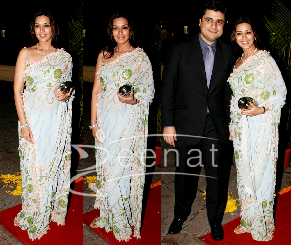 Bollywood Embroidered Saree Sonali Bendre