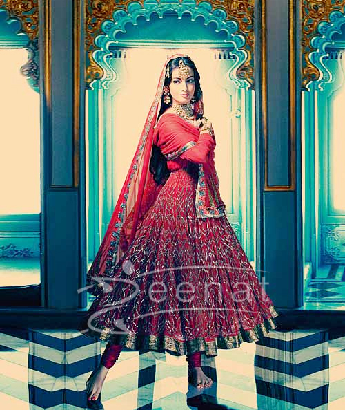 Dia Mirza Indian Anarkali In Red