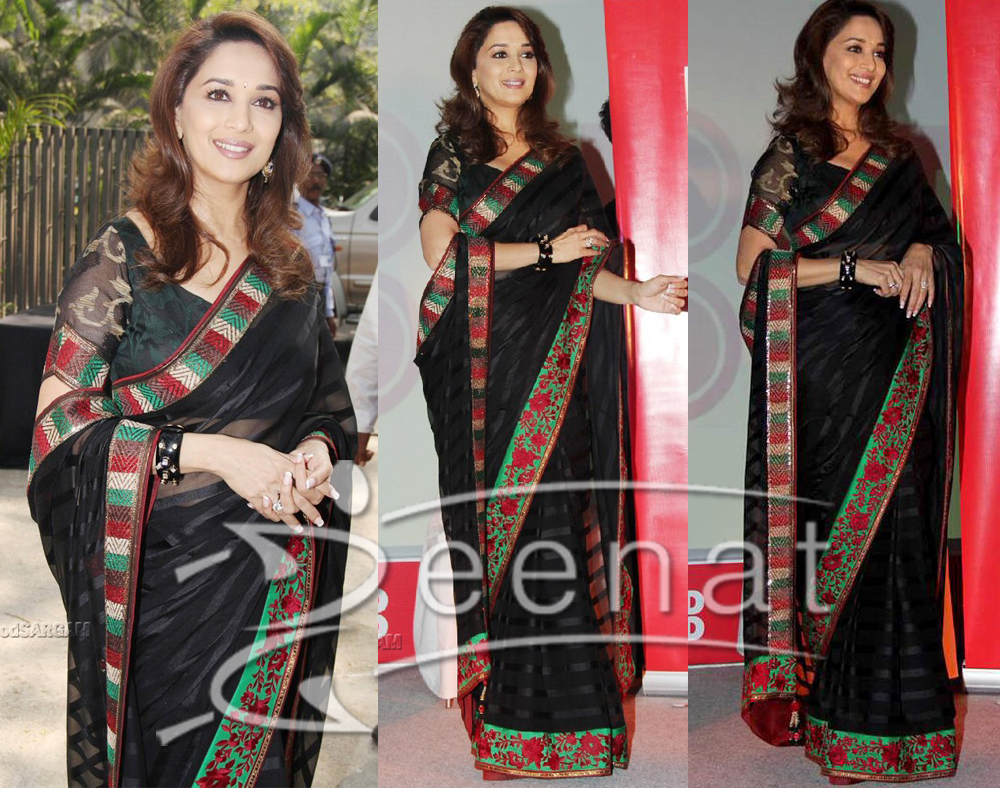 Indian Embroidered Saree Black