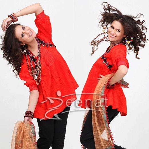Pakistani Red Kurti Style Nausheen Shah
