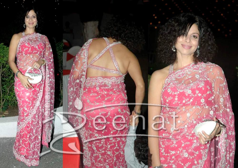 Tanaz Irani Indian Pink Designer Net Saree
