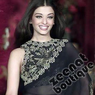 Aishwarya In Black Bollywood Sarees