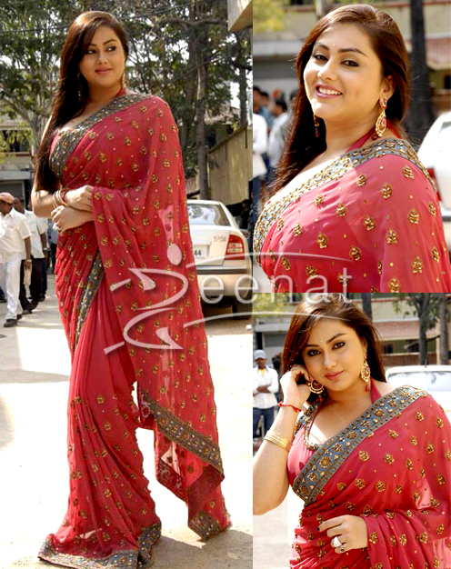 Namitha In Georgette Saree Styles | South Indian