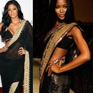 Naomi Campbell in Black Bollywood Saree