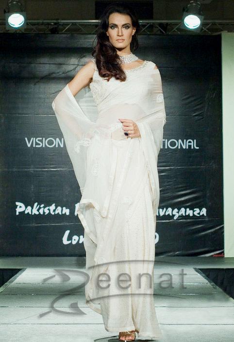 Nadia Hussain White Sarees