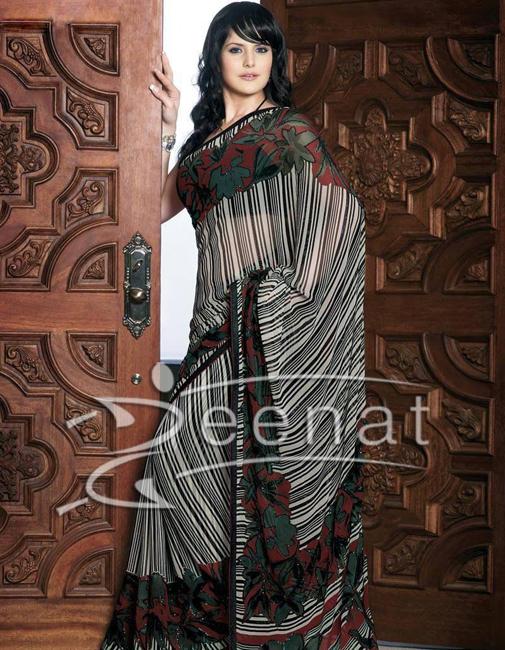 Zarine Khan Indian Printed Sarees