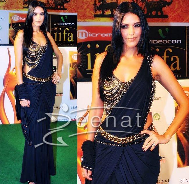 Neha Dhupia Designer Drapped Pallu