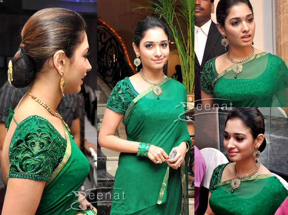 Tamanna in Green Saree Designs