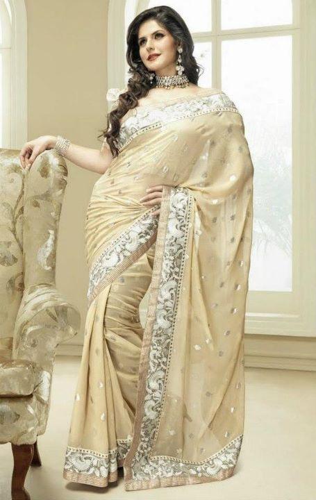 Zarine Khan In Golden Designer Saree