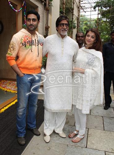 Amitabh Bachchan in white kurta shalwar