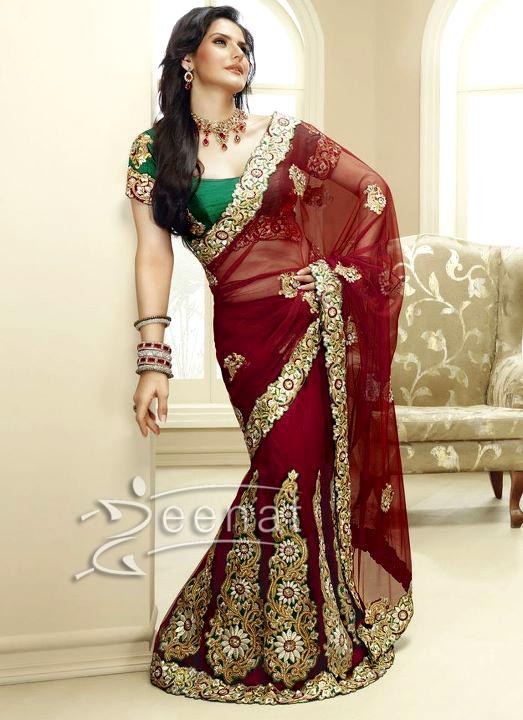 Zarine Khan In Maroon Bridal Saree
