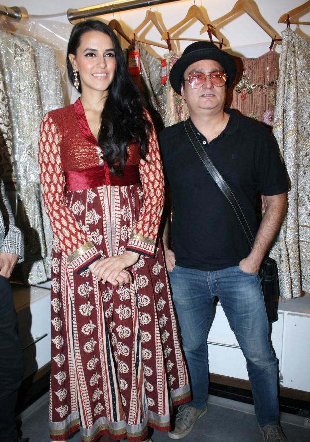 Neha Dhupia In Maroon Anarkali Churidar Salwar