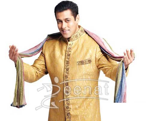 Salmal In Golden Sherwani With Dupatta