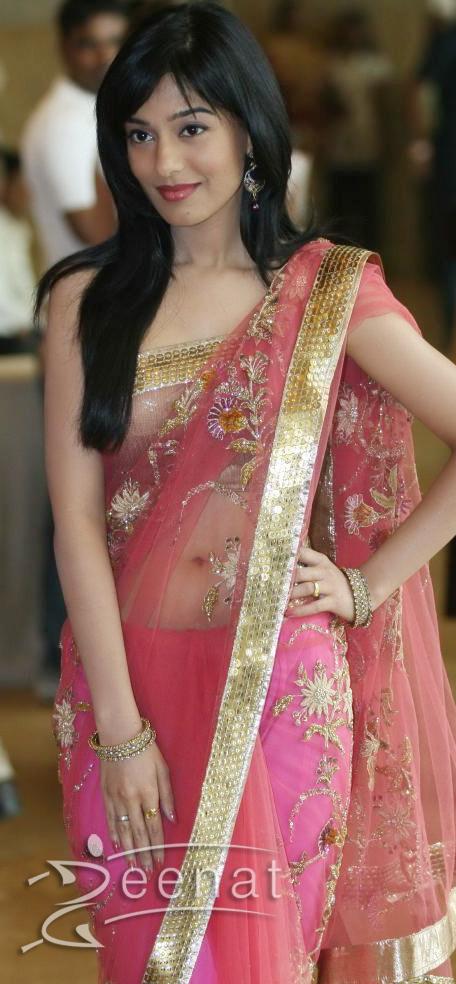 Amirta Rao In Pink Saree at Ritesh Genelia Wedding