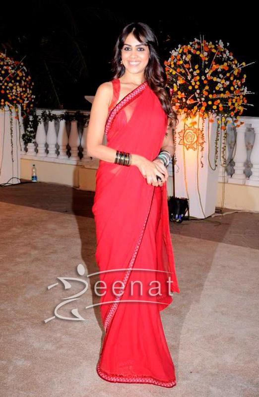 Genelia D'Ssouza In Red Saree