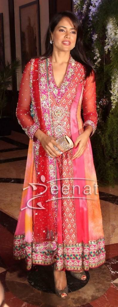 Sameera Reddy Red Anarkali Churidar Salwar Kameez