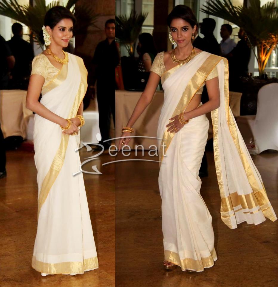 Asin Thottumkal Kerala Saree | Ritesh Genelia Wedding Photos