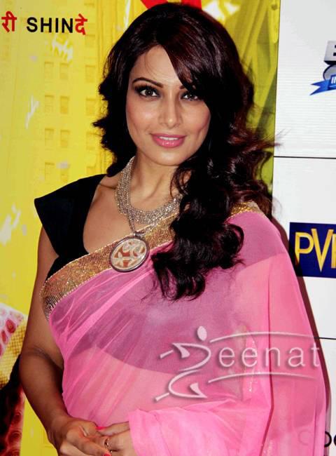 Bipasha Basu Pink Chiffon Saree
