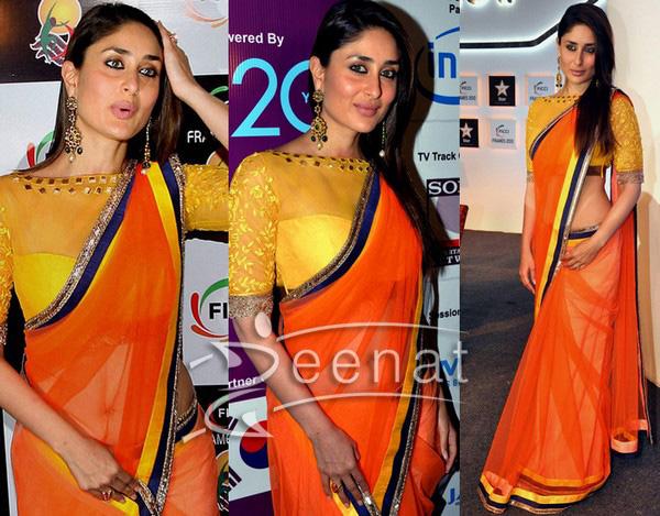 Kareena Kapoor Dazzles in Manish Malhotra Orange Saree