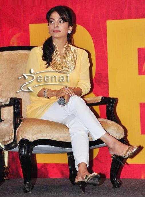 Juhi Chawla in Yellow Kurta Churidar