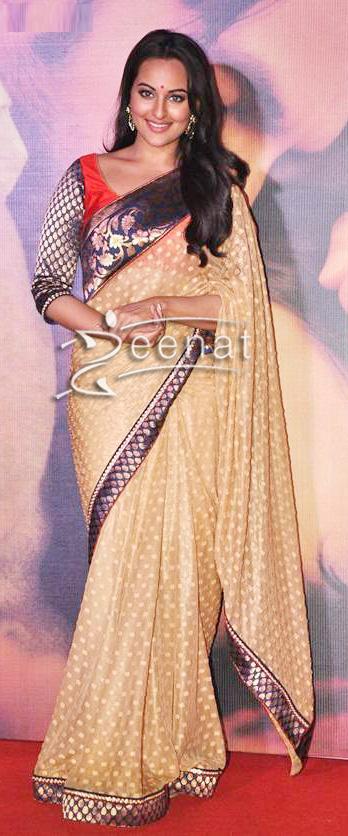 Sonakshi Sinha In Fawn Banarsi Saree