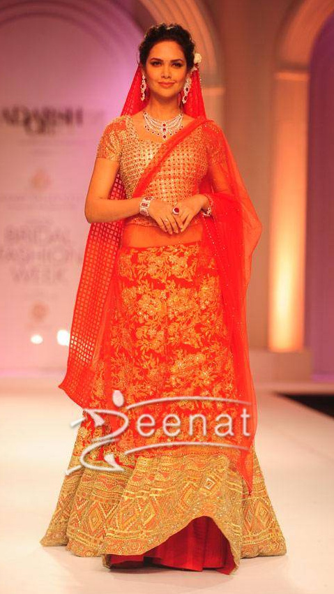 Esha Gupta designer lehenga choli by Adarsh Gill