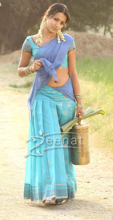 Trisha Krishnan in designer lehenga saree style