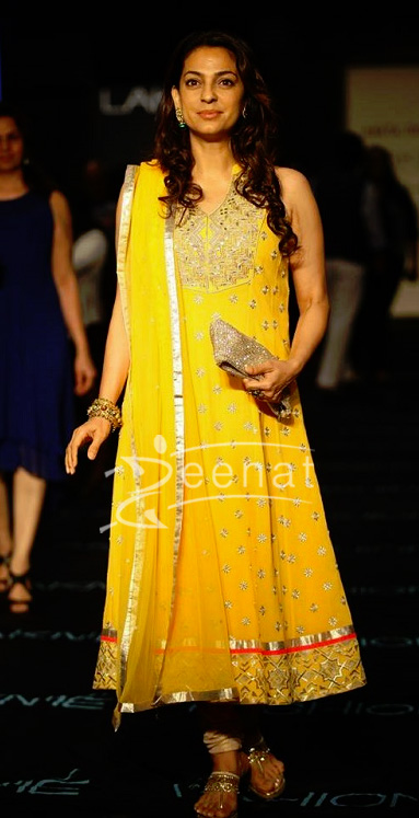 Juhi Chawla Yellow Anarkali Lakme Fashion Week 2013