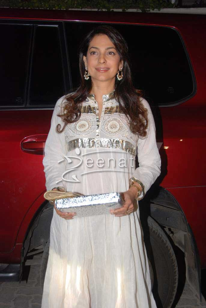 Juhi Chawla In Designer White Anarkali Churidar