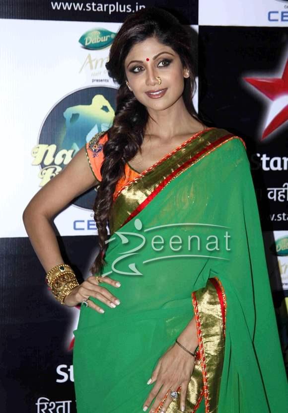 Shilpa Shetty in Green Saree on Nach Baliye 6