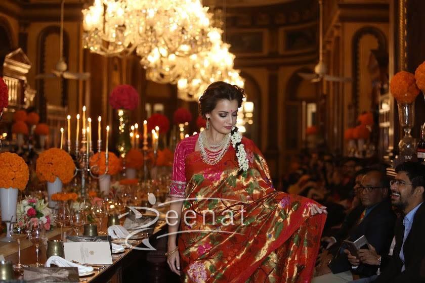 Dia Mirza in Traditional Silk Saree by Gaurang Shah