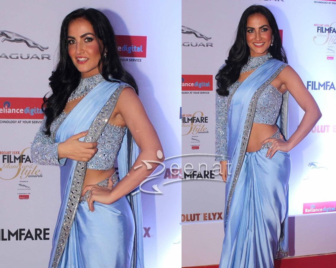 Elli Avram In Blue Saree at Film Fare
