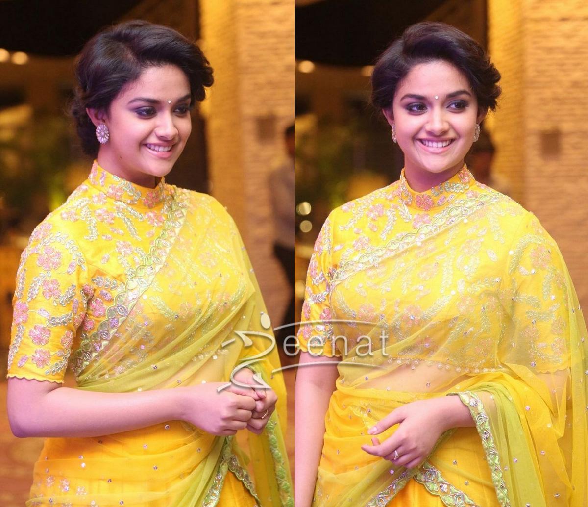 South Indian Actress Keerthi Suresh in Yellow Lehenga Choli