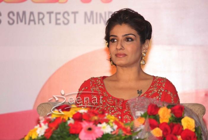Raveena Tondon in Red frock by Prathyusha Garimella