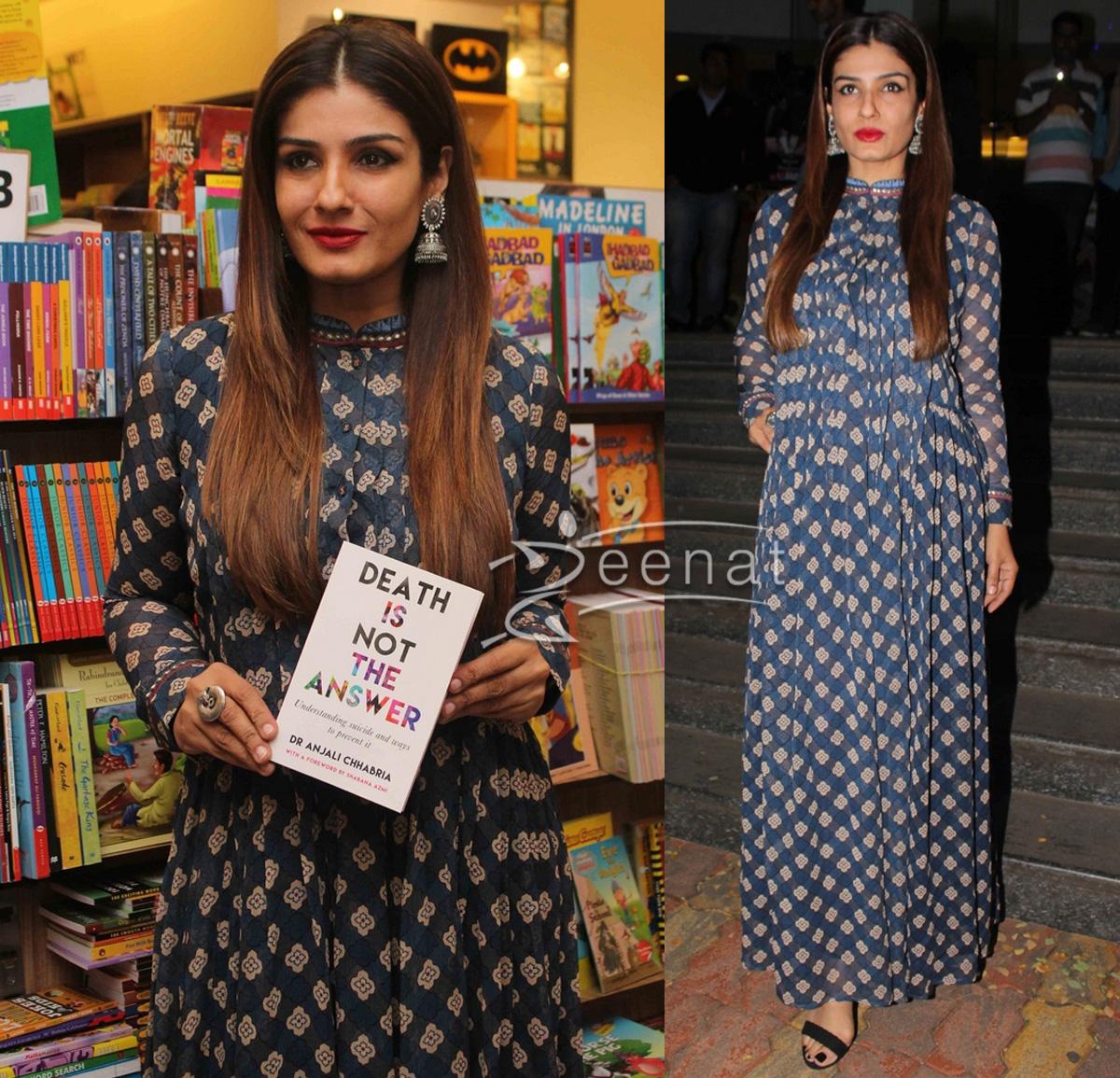 Raveena Tondon Printed Blue Maxi Dress