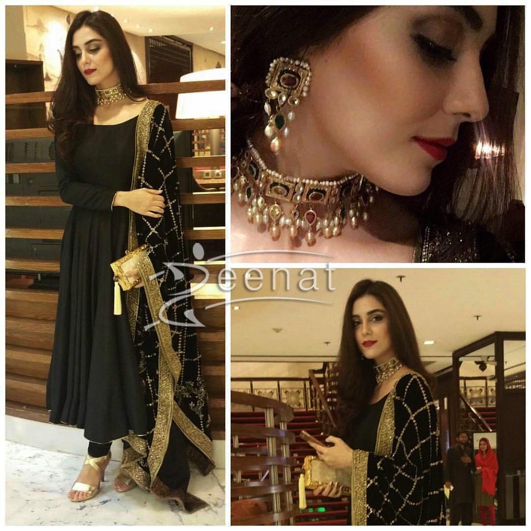 Maya Ali In Black Anarkali Salwar Kameez
