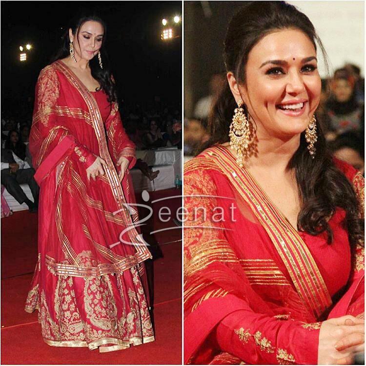 Preity Zinta In Rimple Harpreet Narula Anarkali Dress