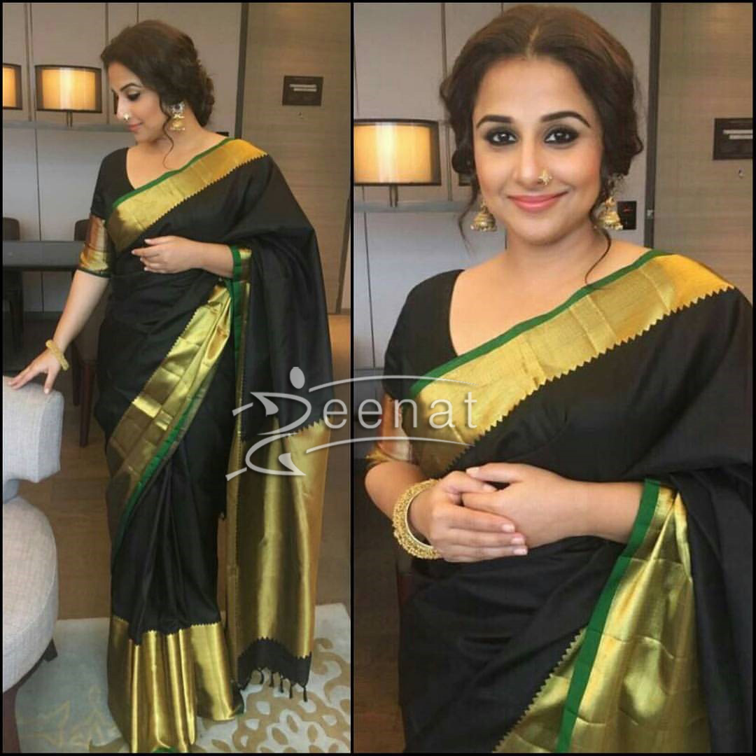 Vidya Balan in Black Saree Begum Jaan Promotion