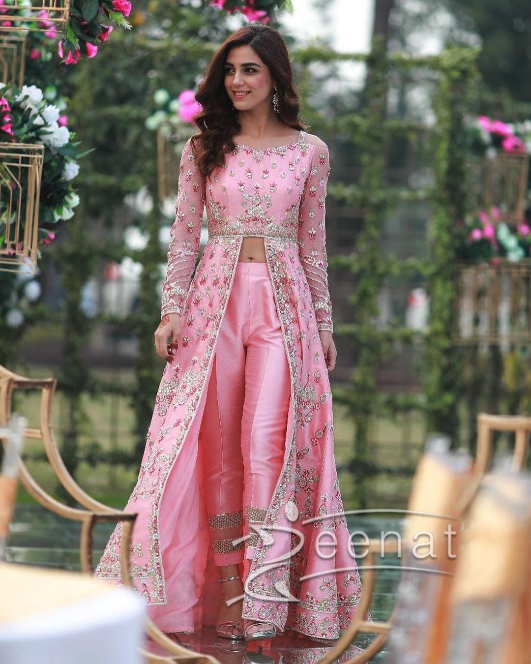 Maya Ali In Faiza Saqlain Pink Dress
