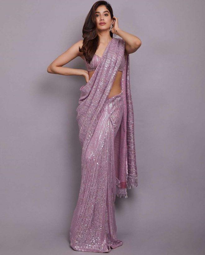 Jahnvi Kapoor in Sexy Violet Saree